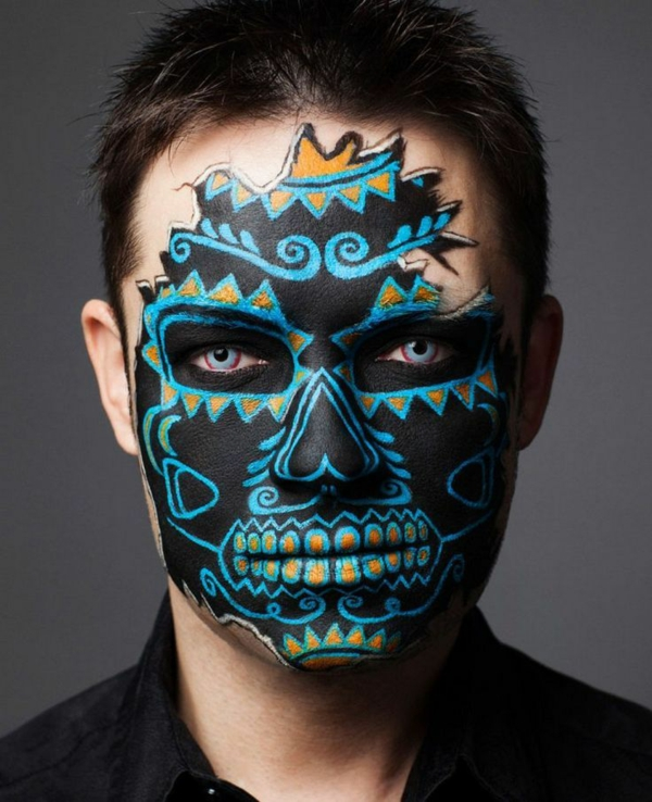 maquillage halloween homme crâne mexicain noir