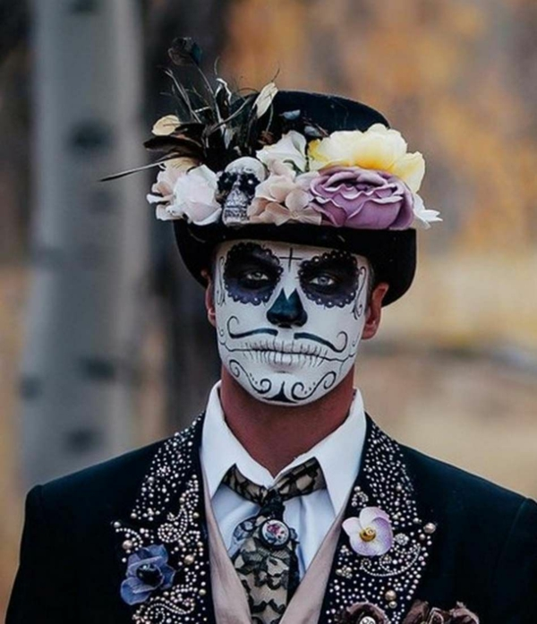 maquillage halloween homme crâne mexicain