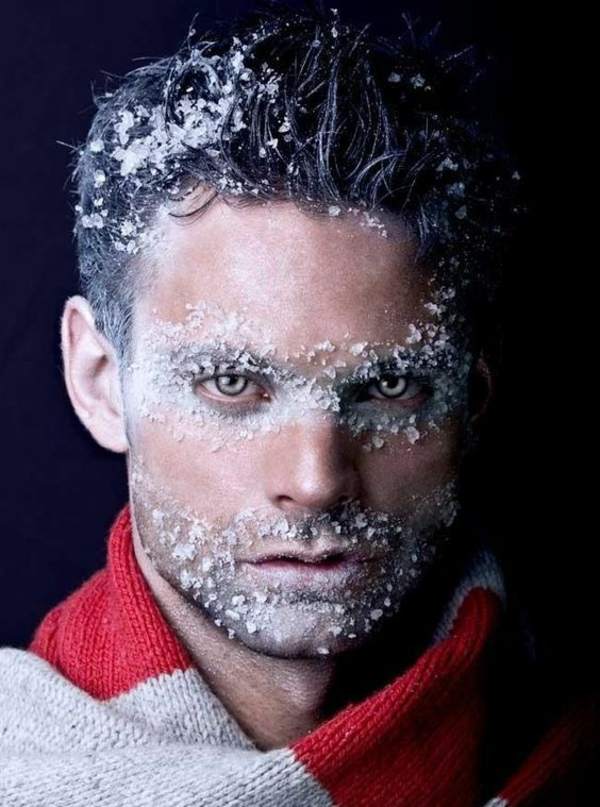 maquillage halloween homme iceman peau enneigée