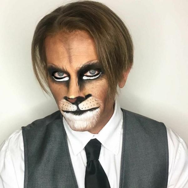 maquillage halloween homme lion