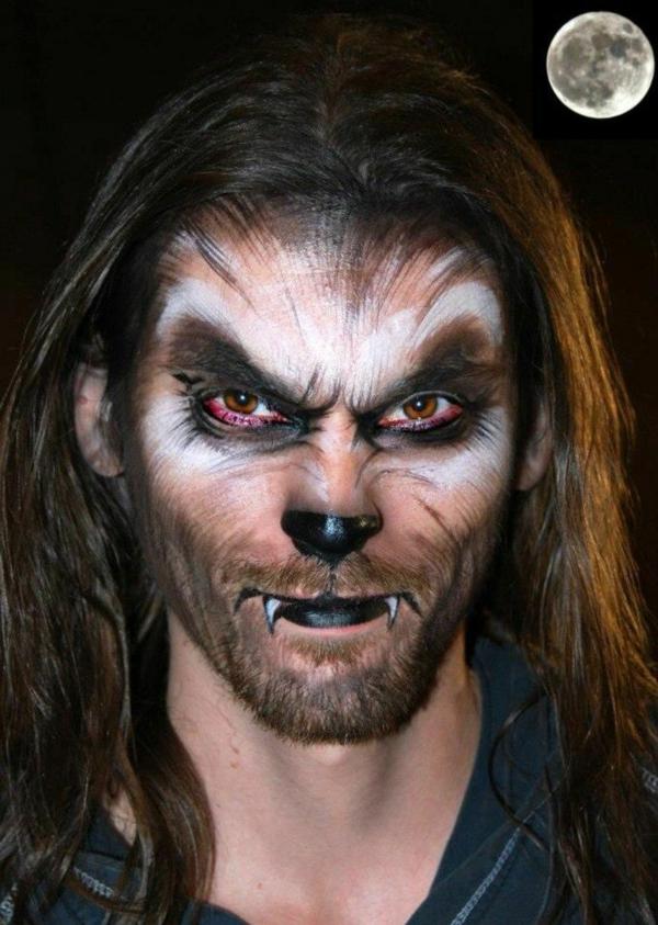 maquillage halloween homme loup-garou aux cheveux longs