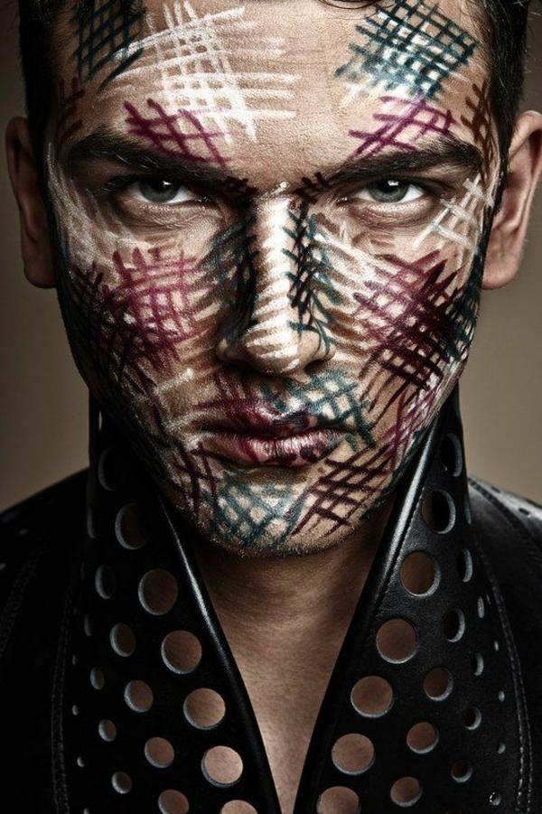 maquillage halloween homme motif lignes