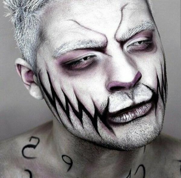 maquillage halloween homme peau givrée