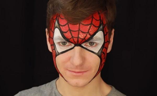maquillage halloween homme spiderman