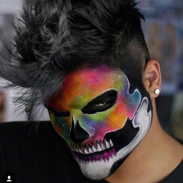 maquillage halloween homme squelette colorée
