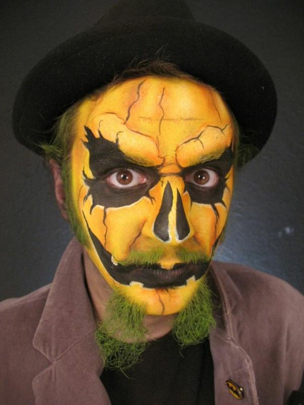 maquillage halloween homme tête citrouille