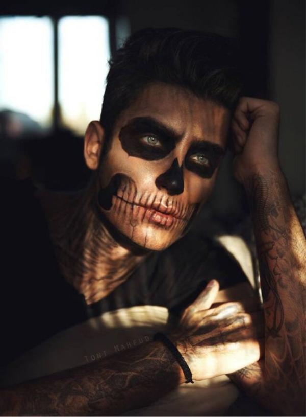 maquillage halloween homme tête de mort
