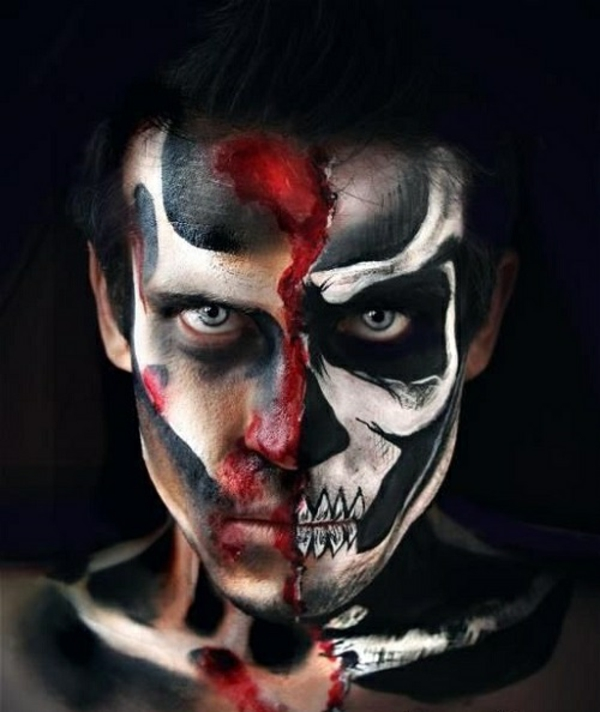 maquillage halloween homme visage double