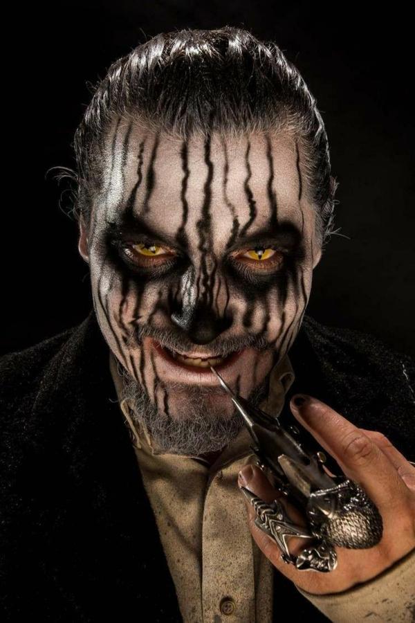 maquillage halloween homme zombie aux yeux jaunes