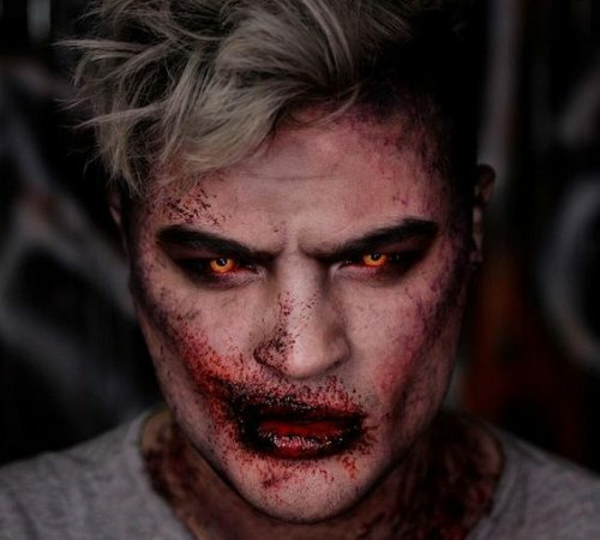 maquillage halloween homme zombie aux yeux oranges