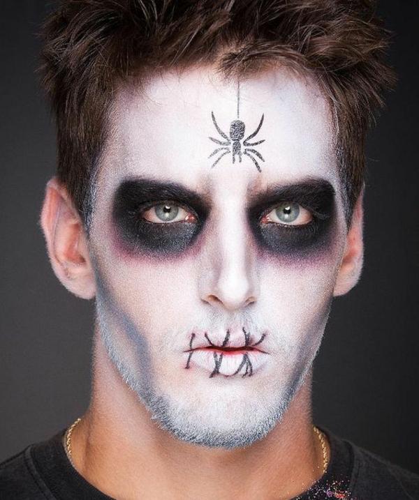 maquillage halloween homme zombie avec araignée sur le front