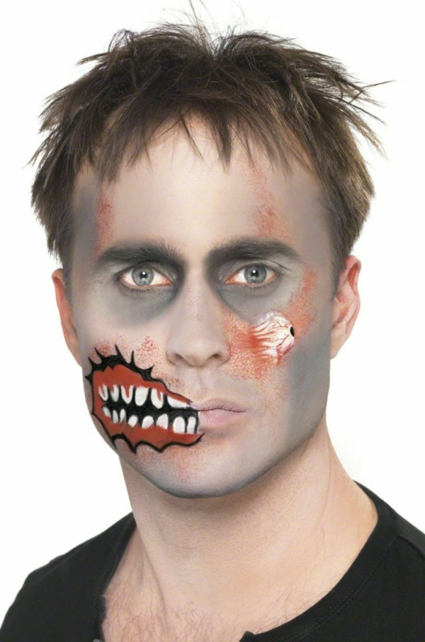 maquillage halloween homme zombie peau avec des lésions
