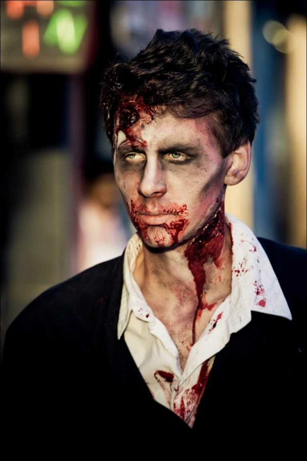 maquillage halloween homme zombie plaies sanglantes