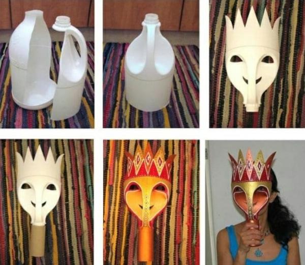 masque halloween à fabriquer vous-même à partir de tube à lait