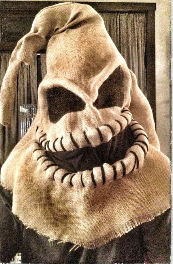 masque halloween à fabriquer vous-même de toile de jute