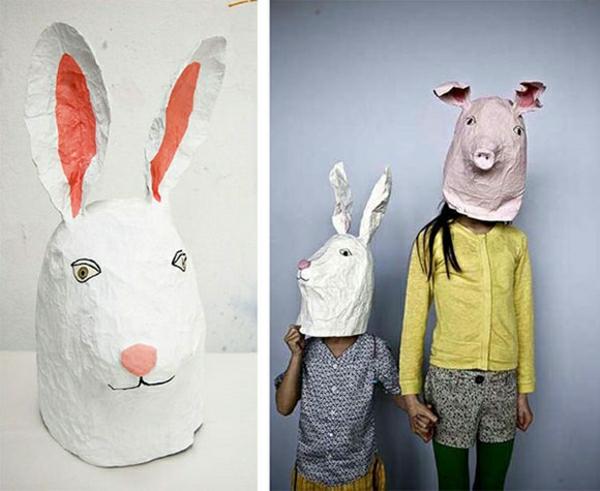 masque halloween à fabriquer vous-même lapin en papier mâché