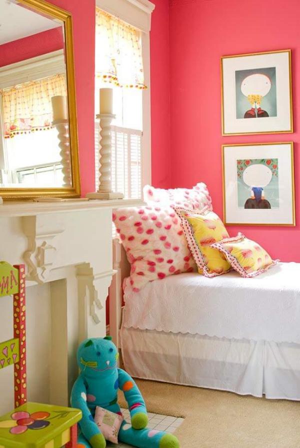mobilier chambre enfant teinte rose