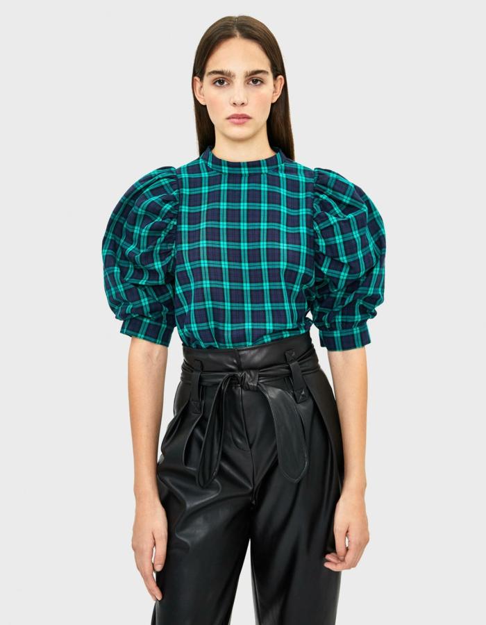 mode blouse imprimé carreaux manches bouffantes