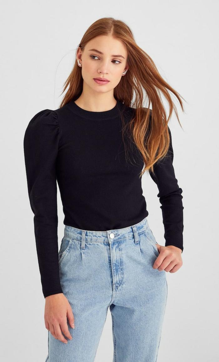 mode femme 2020 blouse noire manches bouffantes