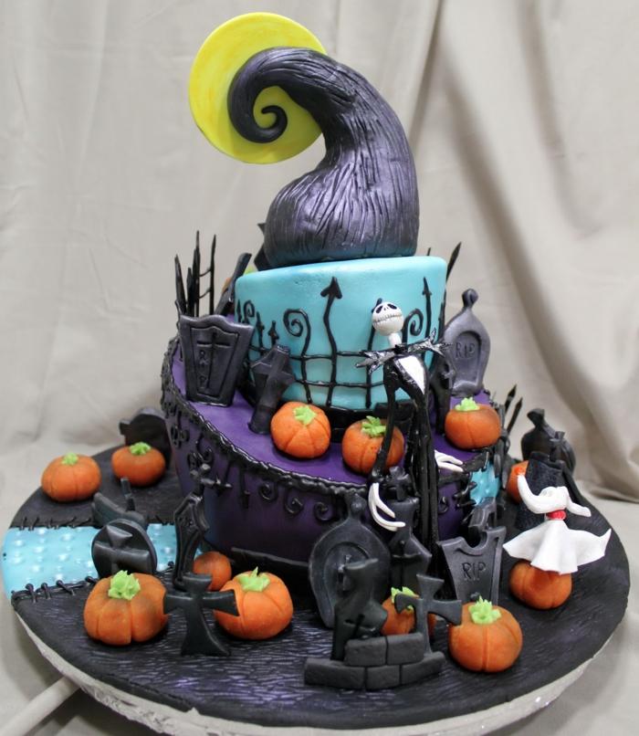 oeuvre d'art gâteau halloween cimetière