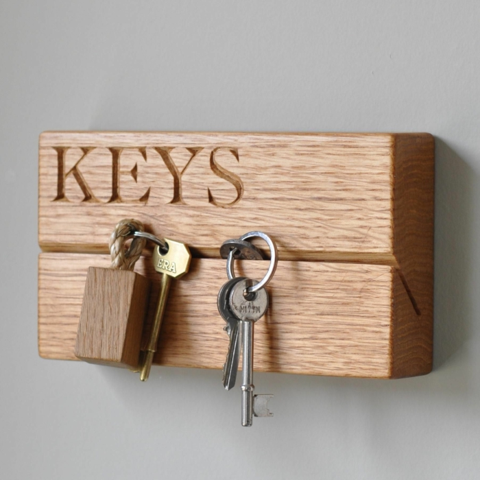 porte clés mural à partir du bois projet diy