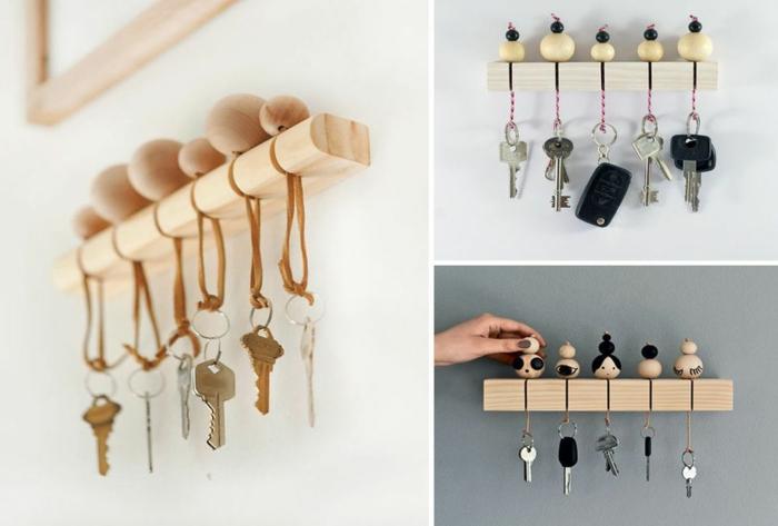 porte clés mural à partir du bois