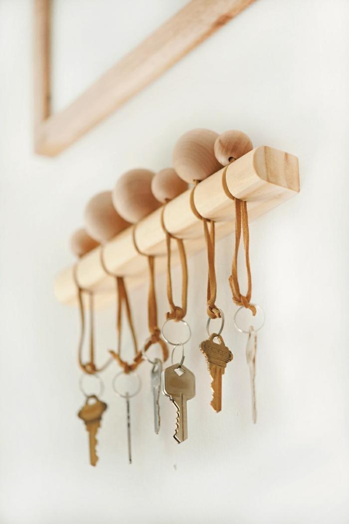 porte clés mural réalisation en bois