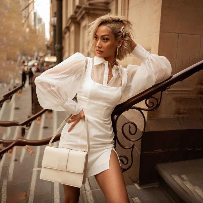 robe blanche moderne à manches bouffantes mode 2020