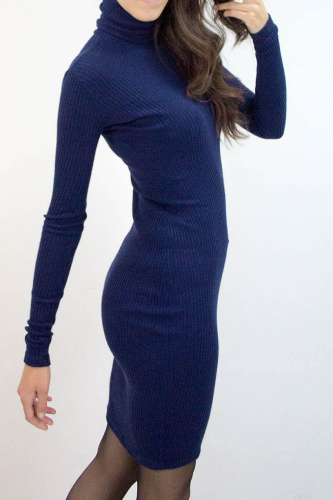 robe maille femme bleu ancre