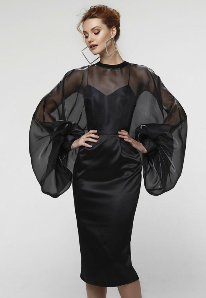 robe noire élégante manches bouffantes