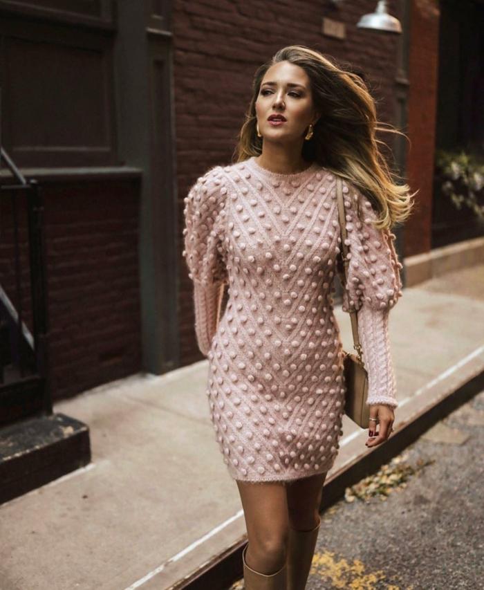 robe tricotée manches bouffantes