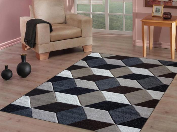 tapis imprimé animal aux figures géométriques