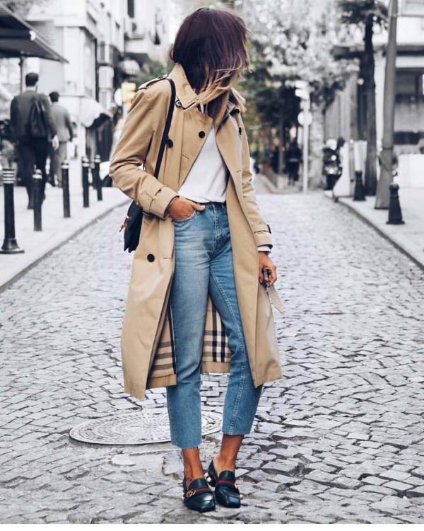 tendance mode femme 2019 jean et trench-coat