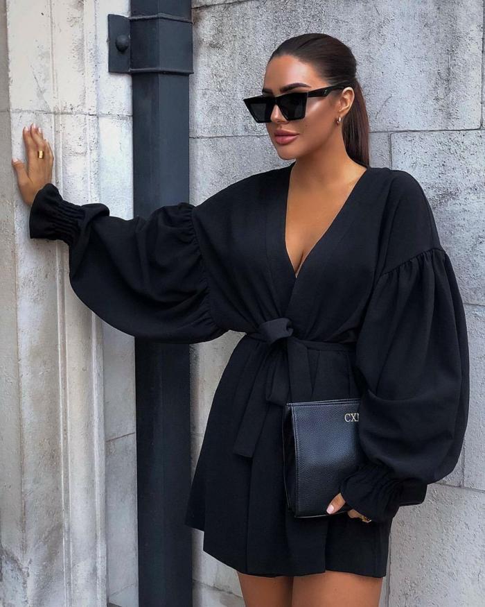 tenue de soirée robe noire courte à manches bouffantes