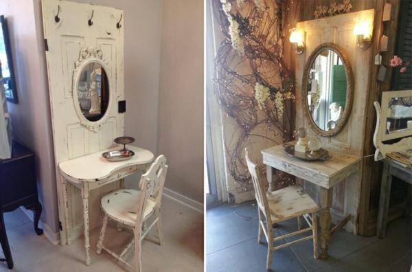transformer une vieille porte en bois en meuble pratique coiffeuse
