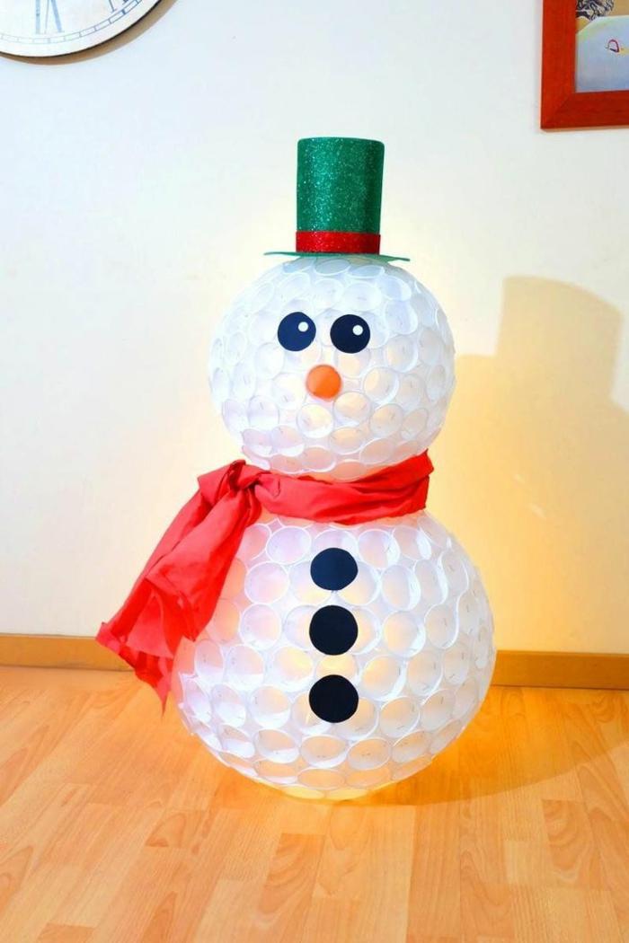 verres en plastique idée diy bonhomme de neige en chaussette noël