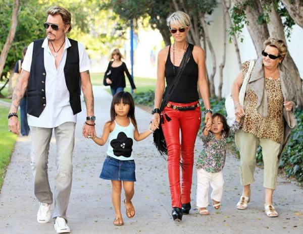 johnny hallyday sa femme et leurs petites filles jade et joy