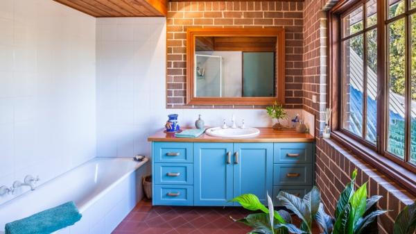 Meuble rangement salle de bain armoire basse colorée