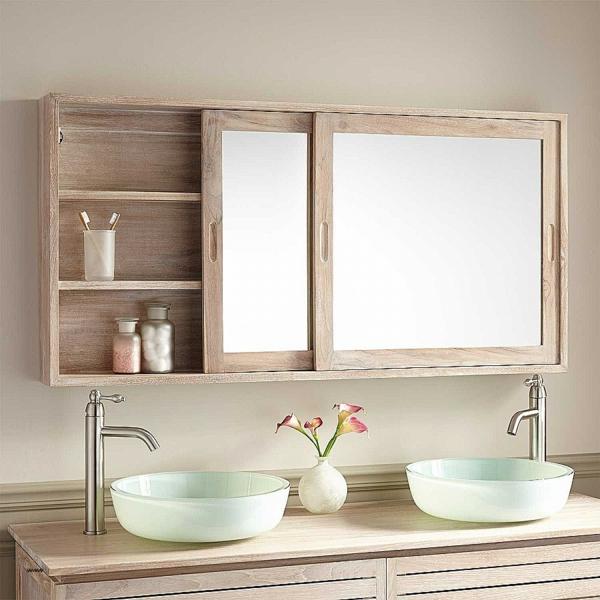 Meuble rangement salle de bain armoire haute avec miroir intégré