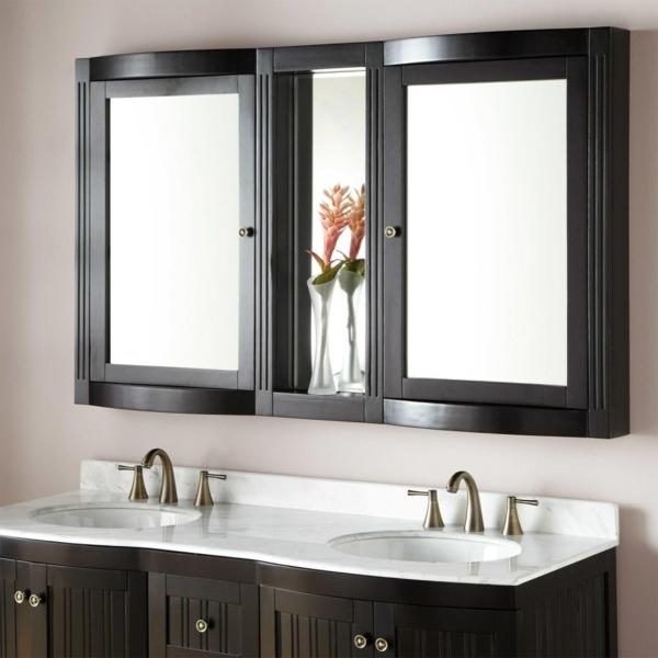 Meuble rangement salle de bain armoires avec miroir