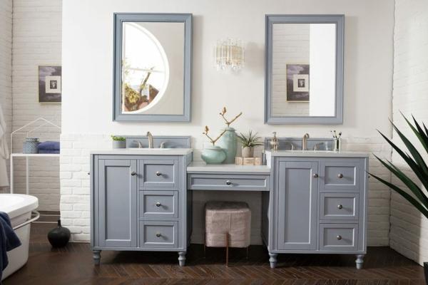Meuble rangement salle de bain armoires basses aux pieds