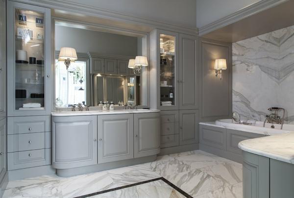Meuble rangement salle de bain armoires grises