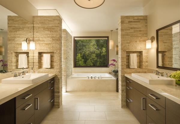 Meuble rangement salle de bain beige et brun