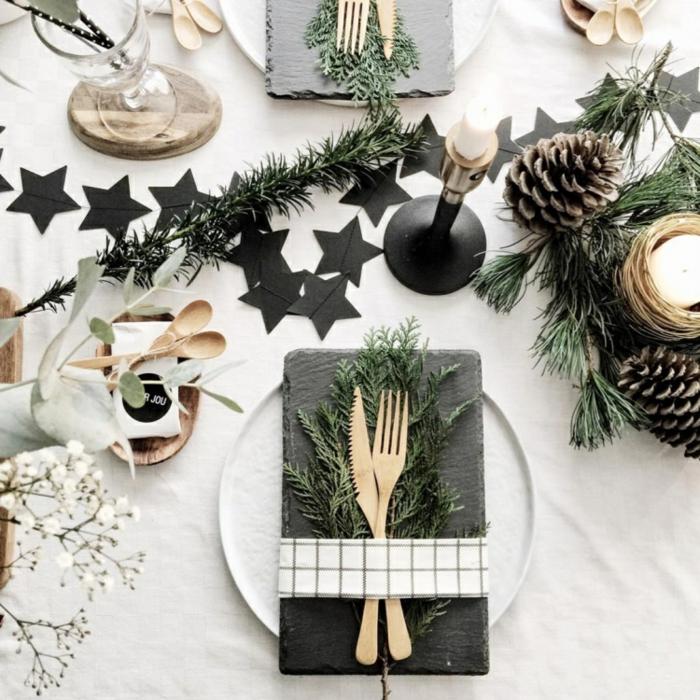 assiette de Noël déco blanc et noir