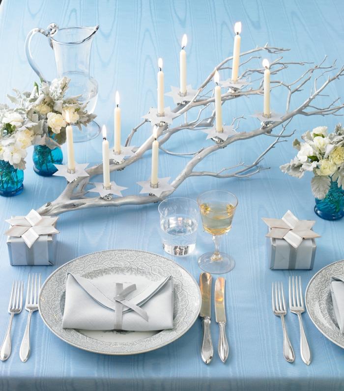 assiette de Noël déco thème bleu