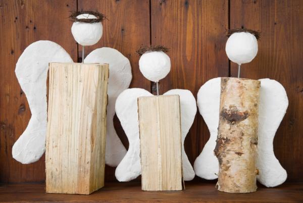 bricolage noël facile ange de bois et papier mâché