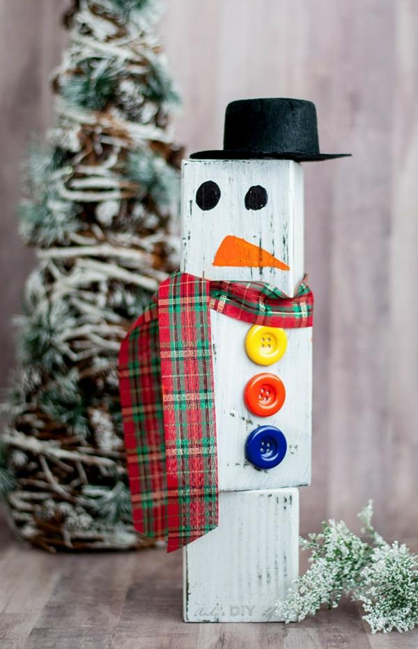 bricolage noël facile bonhomme de neige en bois