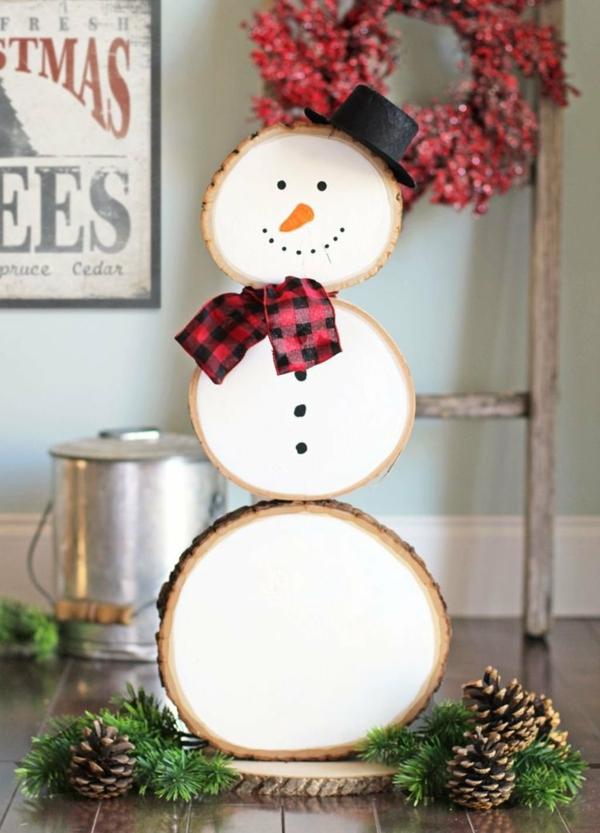bricolage noël facile bonhomme de neige rondelles de bois