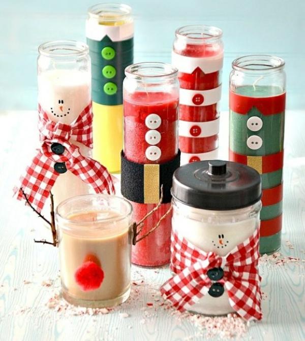 bricolage noël facile bougies de noël dans des bocaux
