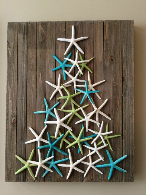 bricolage noël facile sapin fait d'étoiles de mer
